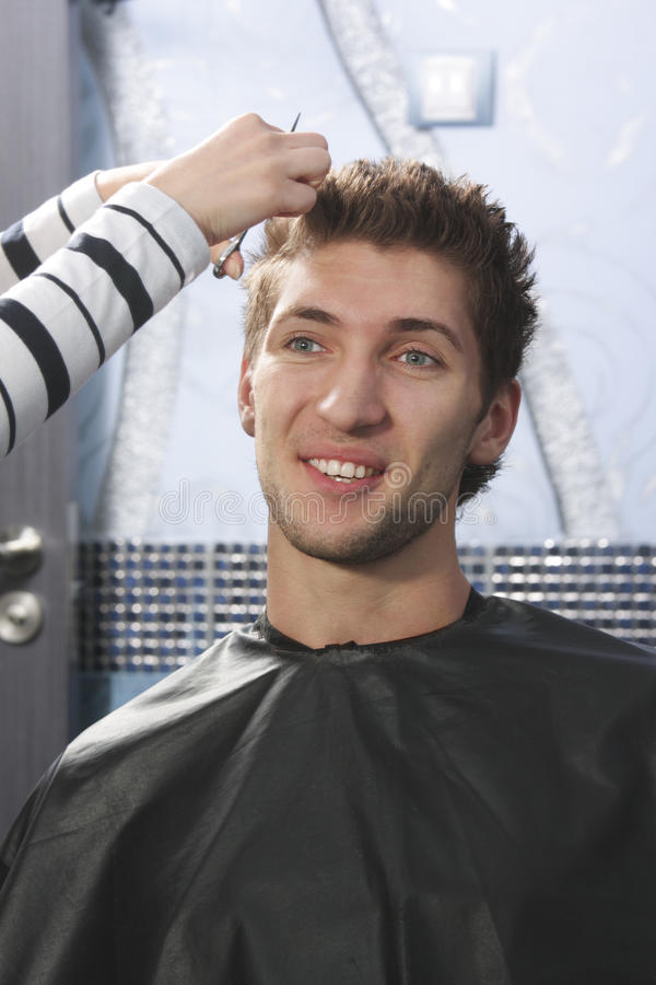 Download Man have haircut stock photo. Image of smile, hands, vertical - 13887172