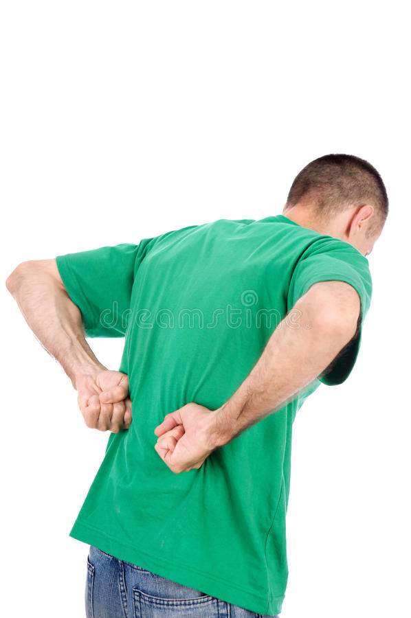 Man have a kidney pain. Man suffering from a kidney or back ache pain, isolated on white background stock photography