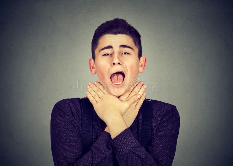 Man having asthma attack or choking can`t breath royalty free stock images