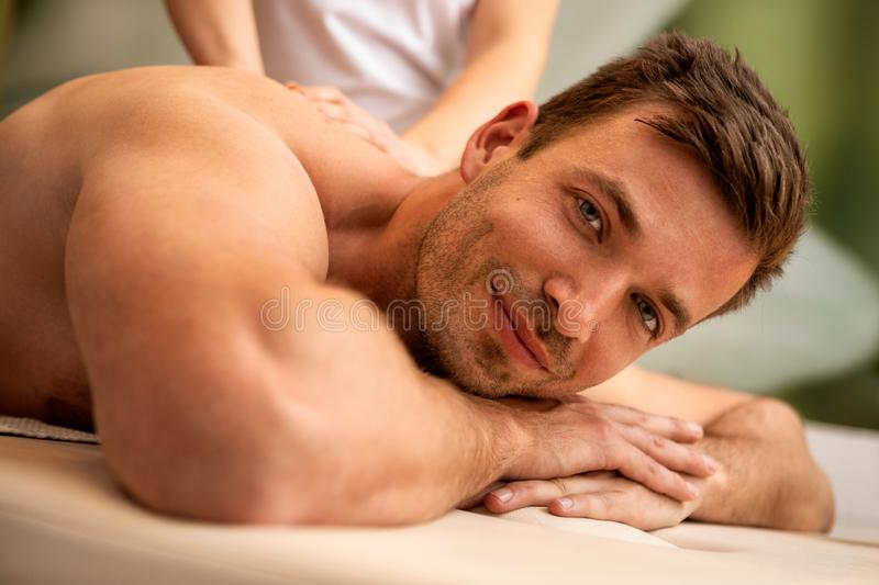 Man having back massage in the health spa stock image