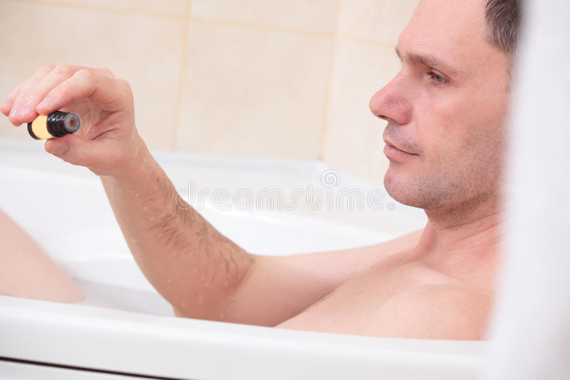 Man Having A Bath Stock Photo