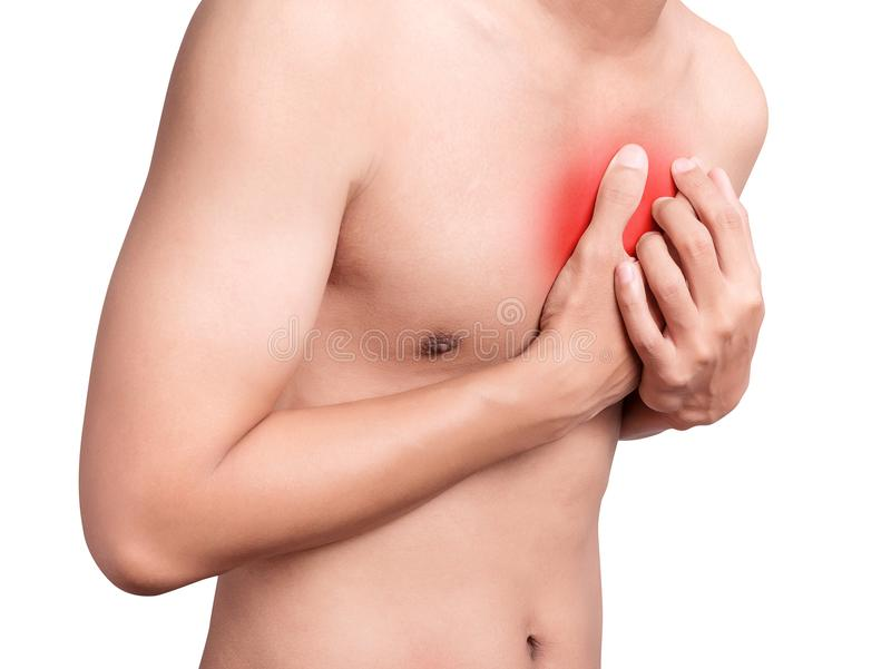 Man having chest pain, heart attack. red color highlight breast royalty free stock image