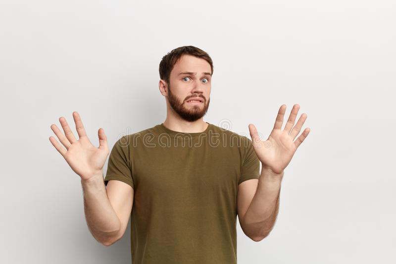 Man is having a dread of something royalty free stock photos