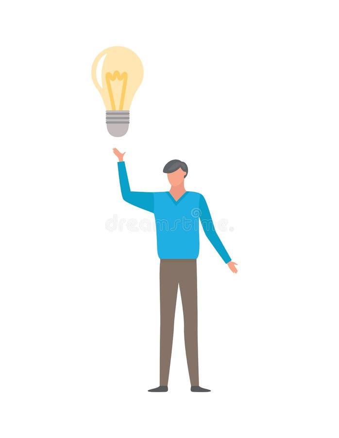 Man Having Good Idea Isolated on White Businessman stock illustration
