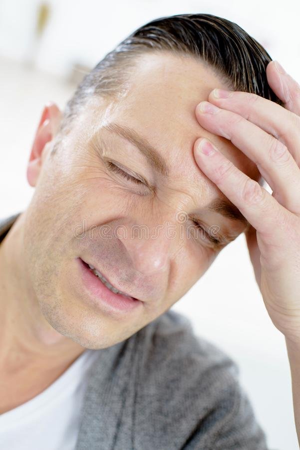 Man having head ache royalty free stock photo