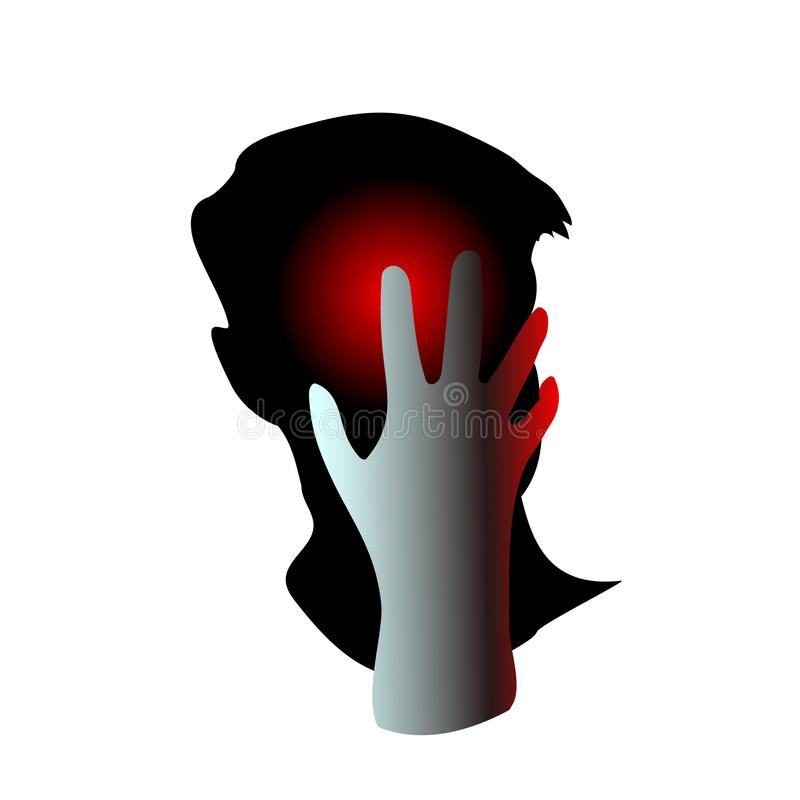 Man having headache, migraine, pain, pressing hand to head. Concept health problems, tired, suffer, frustrated. Hurts and It may. Be because of regret or stock illustration