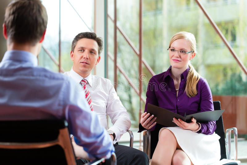 Man having an interview with manager royalty free stock photos