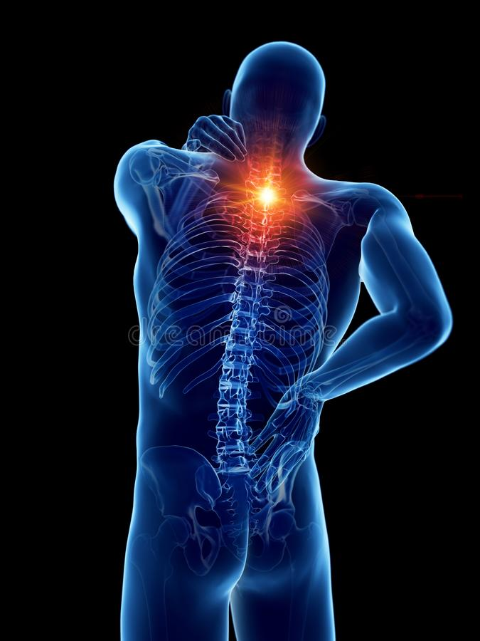 A man having a painful back. 3d rendered medically accurate illustration of a man having a painful back stock illustration