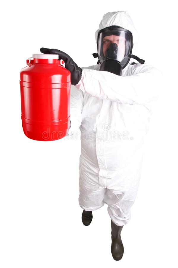 Man in hazardous materials suit. Isolated on white stock photo