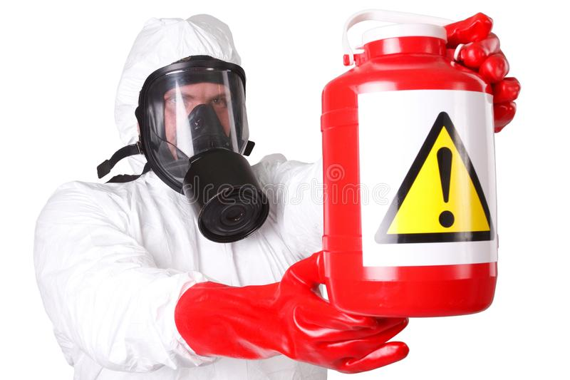 Man in hazardous materials suit. Isolated on white stock image