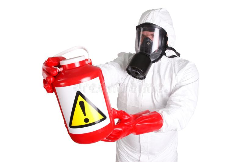 Man in hazardous materials suit. Isolated on white royalty free stock photos