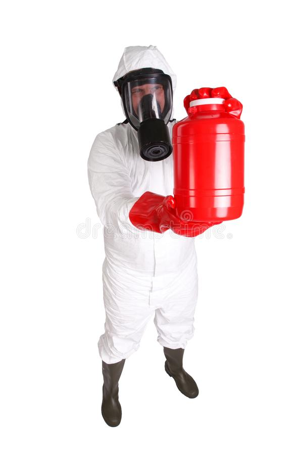 Man in hazardous materials suit. Isolated on white stock photography