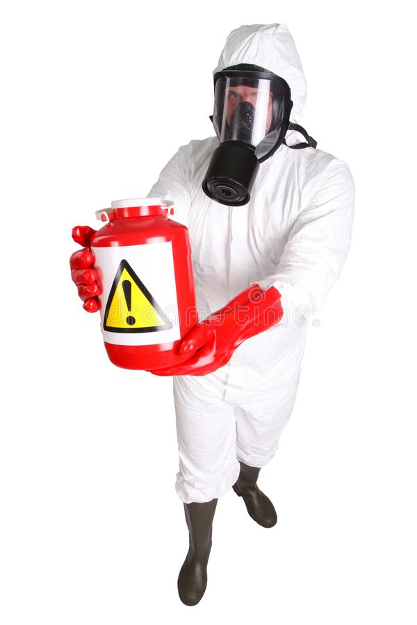 Man in hazardous materials suit. Isolated on white stock photos