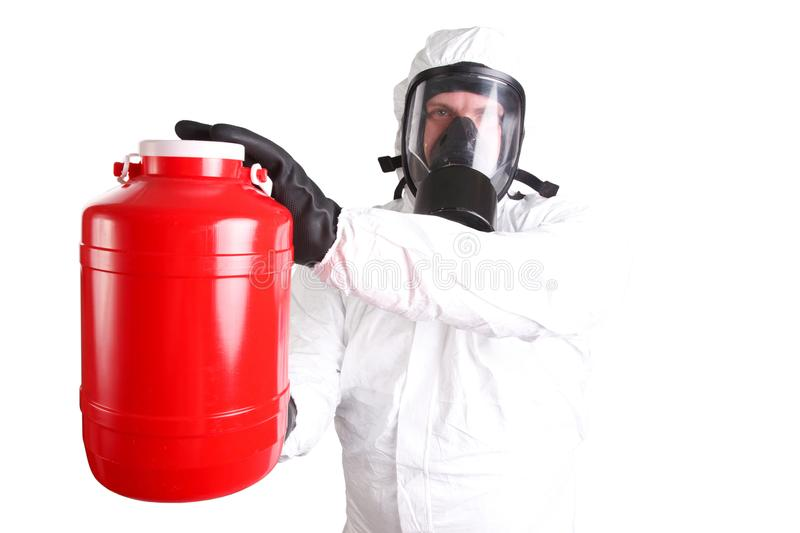 Man in hazardous materials suit. Isolated on white royalty free stock photography