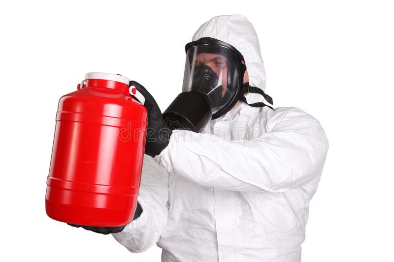Man in hazardous materials suit. Isolated on white royalty free stock images