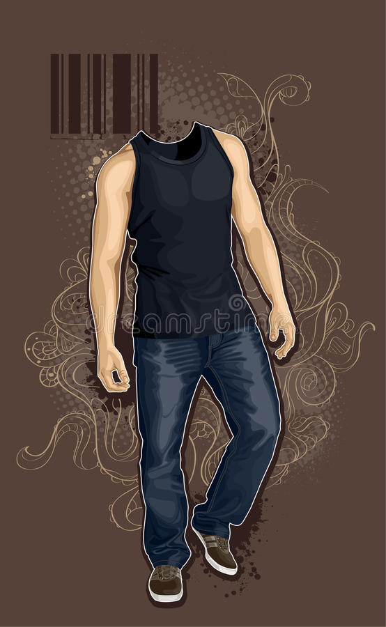 Man without head stock illustration