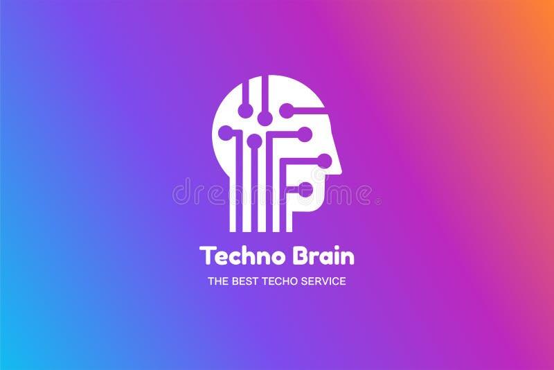 Man Head and Chip Techno Brain Multimedia Logo. Modern Creative Idea Symbol. Innovation Technology Electronic Device Service. Stylized Design Template Logotype vector illustration