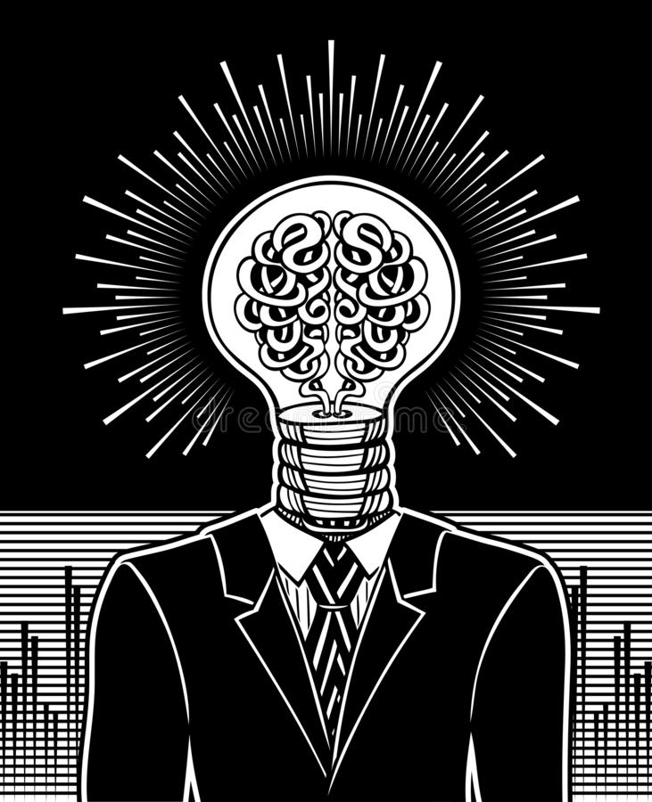 Man with head in form of light bulb and brain. Surrealistic Concept of idea generator. Or energy management or main computer or creative solution or genius in royalty free illustration