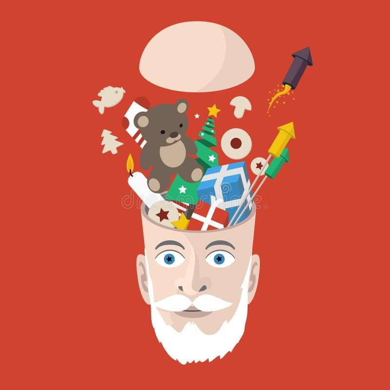 Man head mycket av jul & symboler för nytt år vektor illustrationer