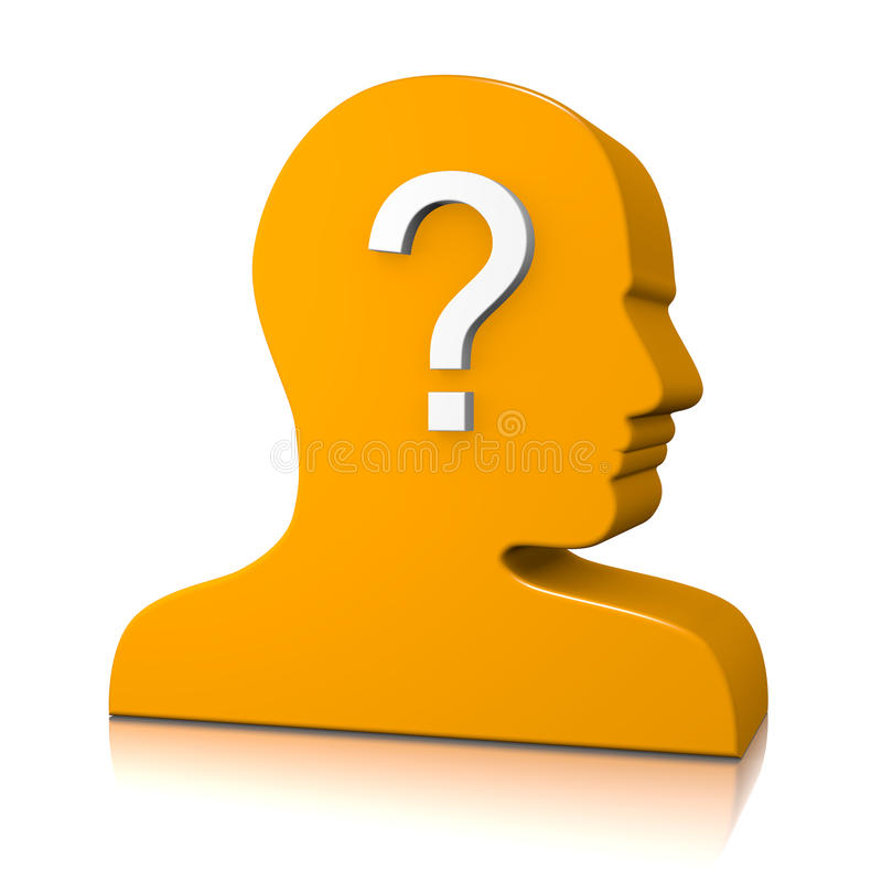 Man Head Profile with Question Mark royalty free illustration