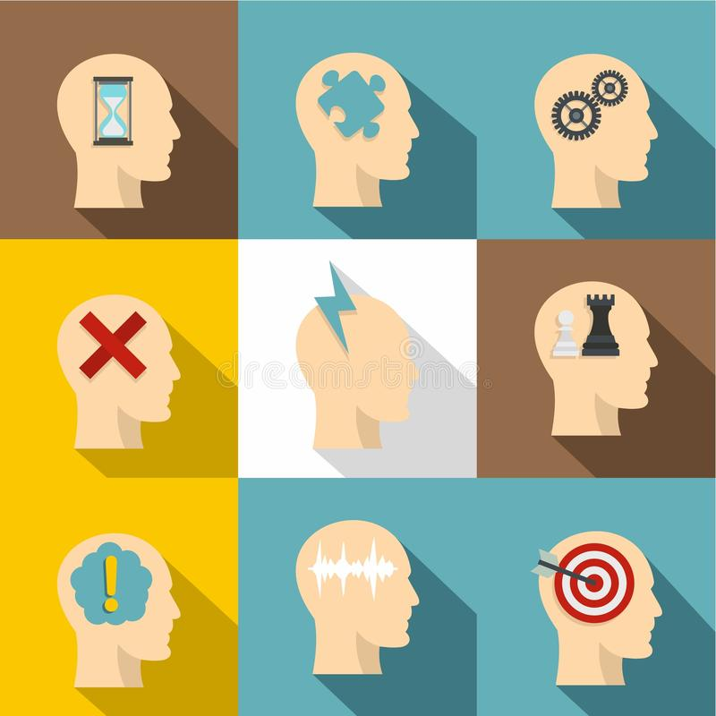 Man head with thoughts icon set, flat style. Man head with thoughts icon set. Flat style set of 9 man head with thoughts vector icons for web design royalty free illustration