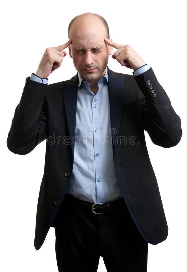 Man with a headache. Isolated over white background royalty free stock images