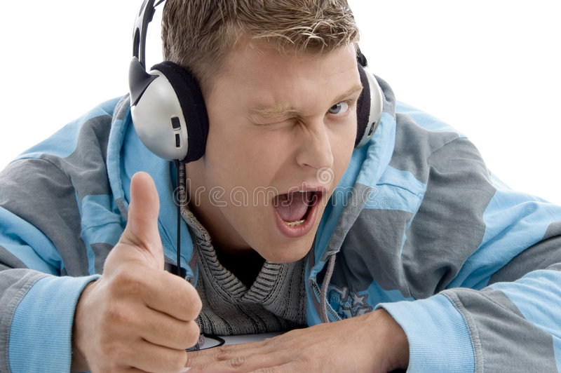 Man with headphone wishing good luck