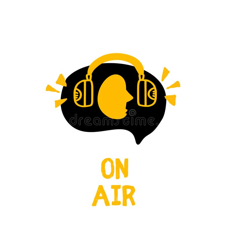 Man in headphones concept vector. Podcast logo in grunge style. Live music. Broadcast symbol royalty free illustration