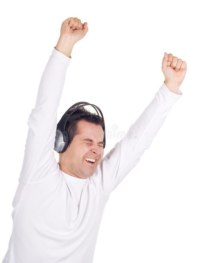 Man In Headphones Listening Music Stock Images