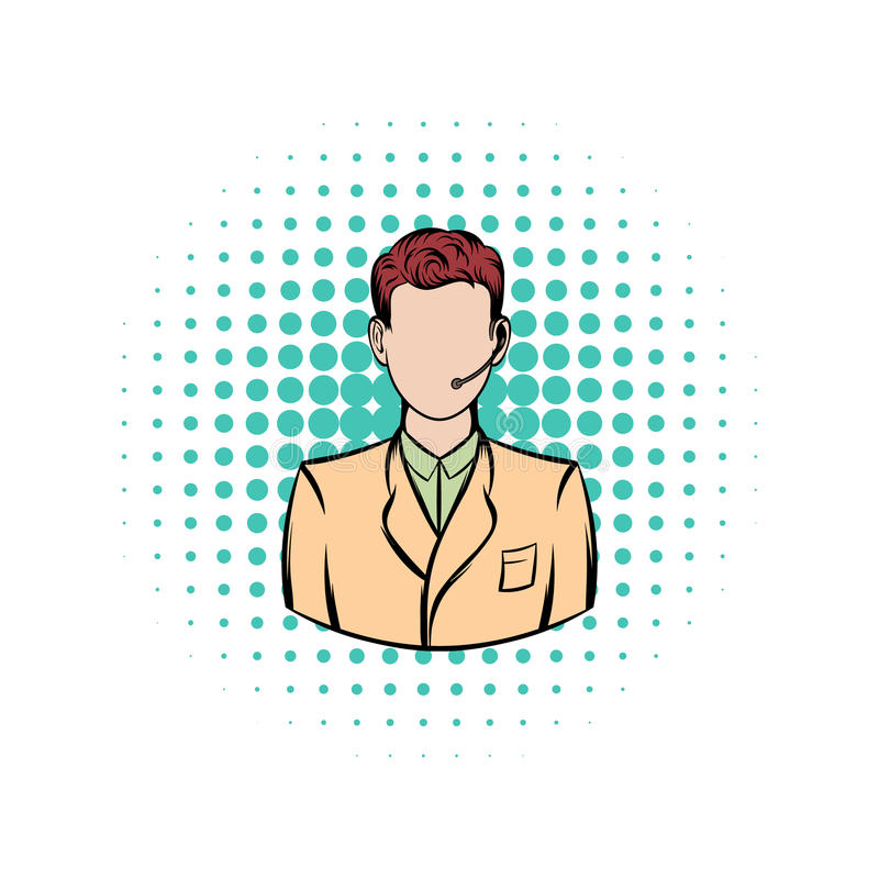 Man with headset comics icon. On a white background stock illustration