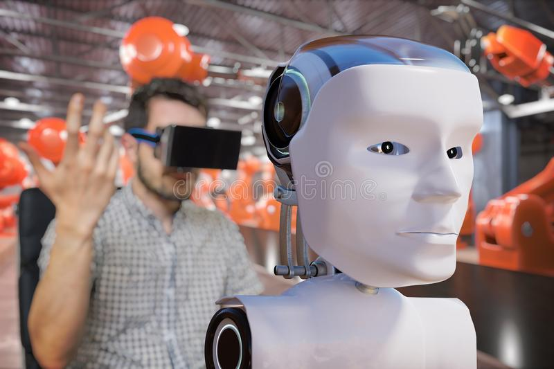 Man with headset is controlling robotic head. Artificial intelligence concept. 3D rendered illustration of a robot.  stock illustration