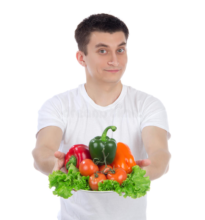Man With Healthy Vegetarian Vegetables Salad Stock Photo