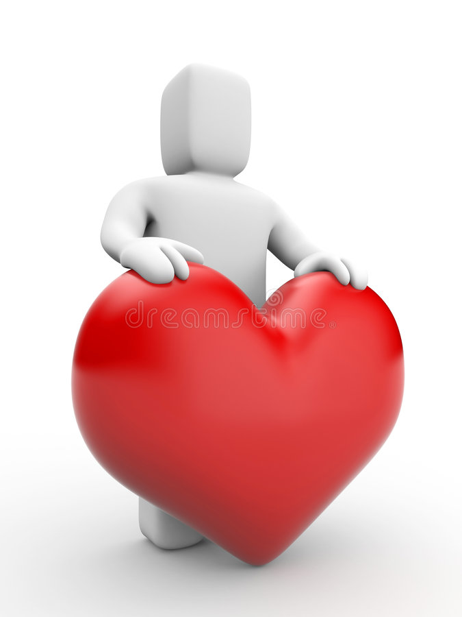 Man and heart stock image