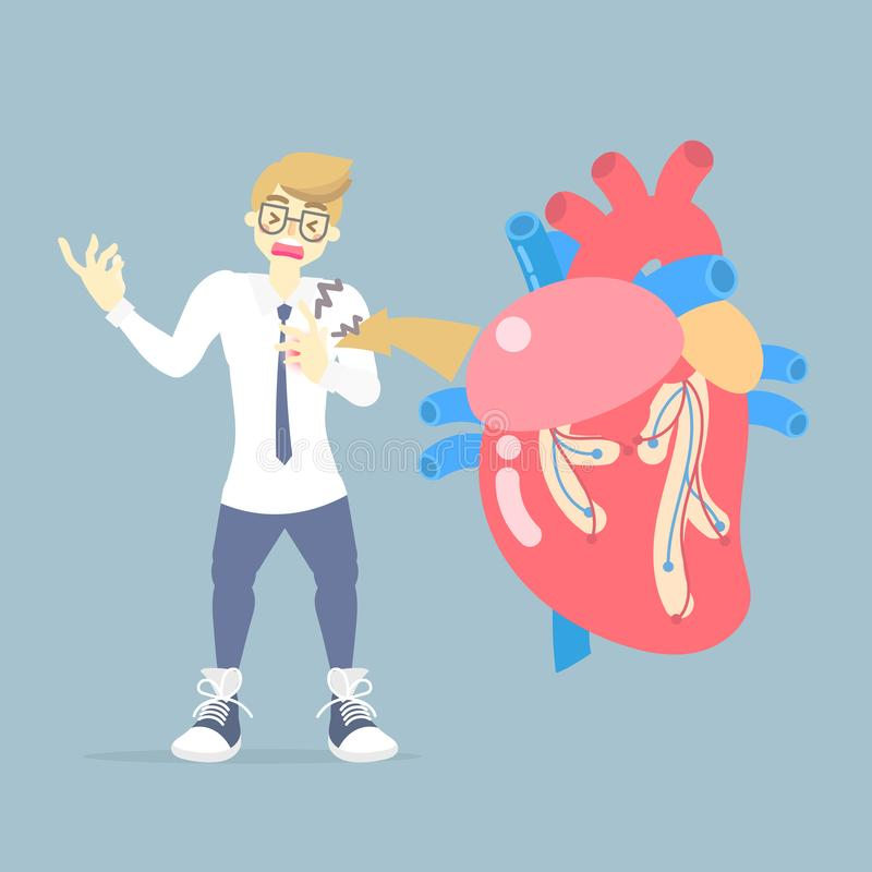 Man with heart attack disease, medical internal organs body part nervous system anatomy surgery human heart health care. Flat vector illustration cartoon vector illustration