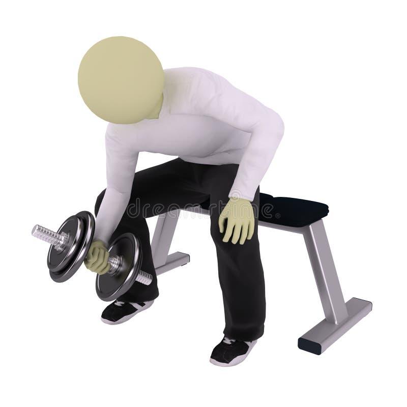 Man heave dumbbell on bench. Man heave dumbbell siting on bench stock illustration
