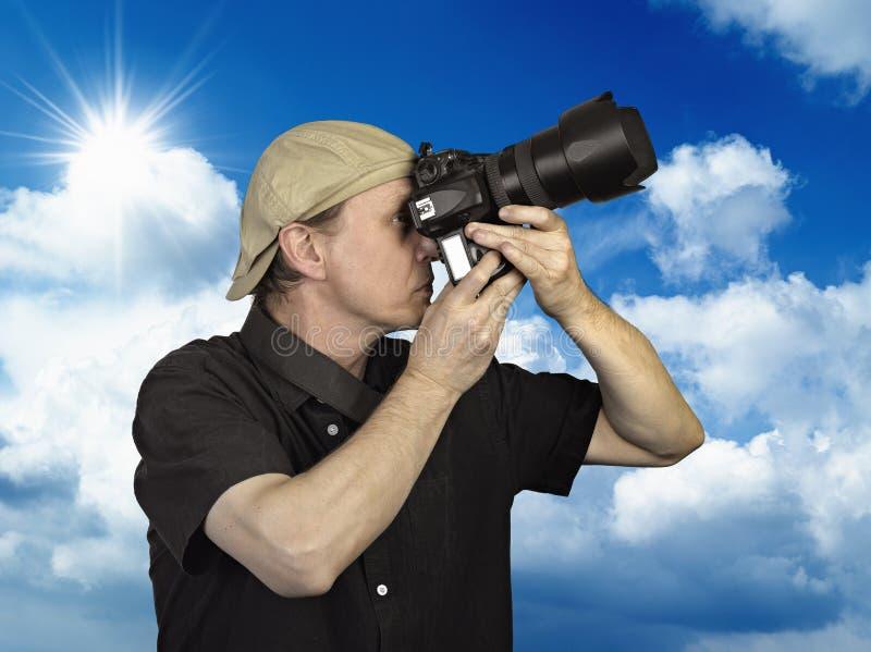 Man held camera stock image