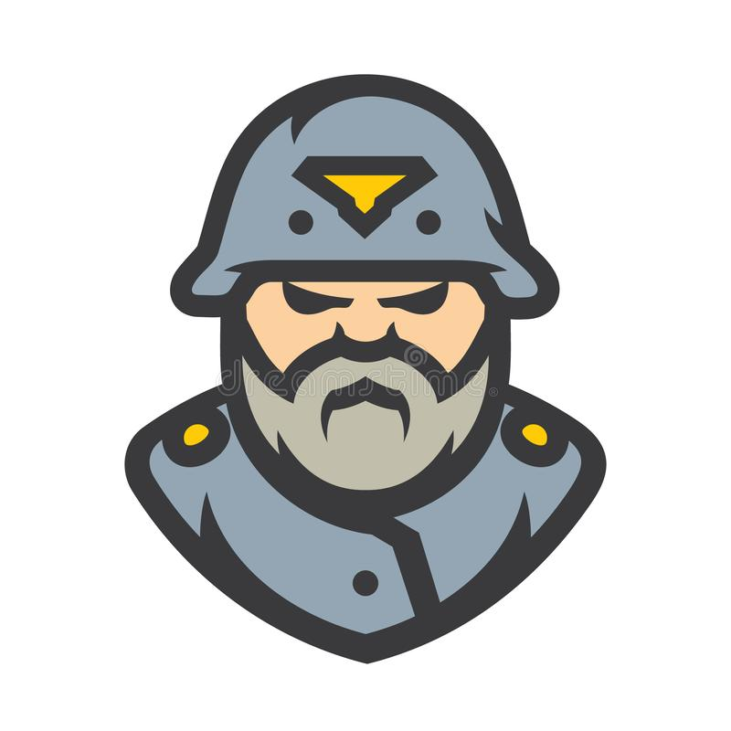German soldier Vector Cartoon illustration. Man in helmet isolated on a white background vector illustration