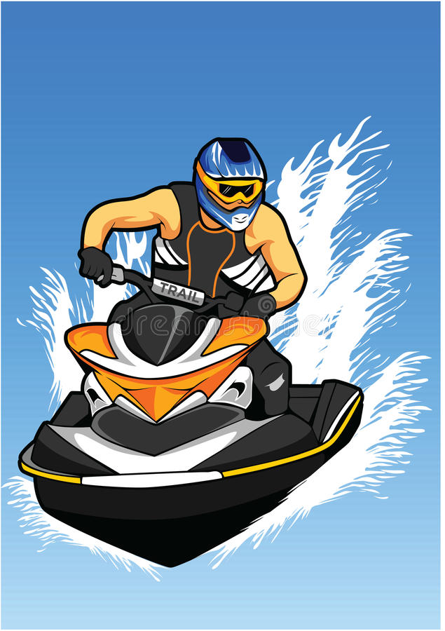 Download Man With Helmet on jet Ski stock vector. Illustration of people - 92446847