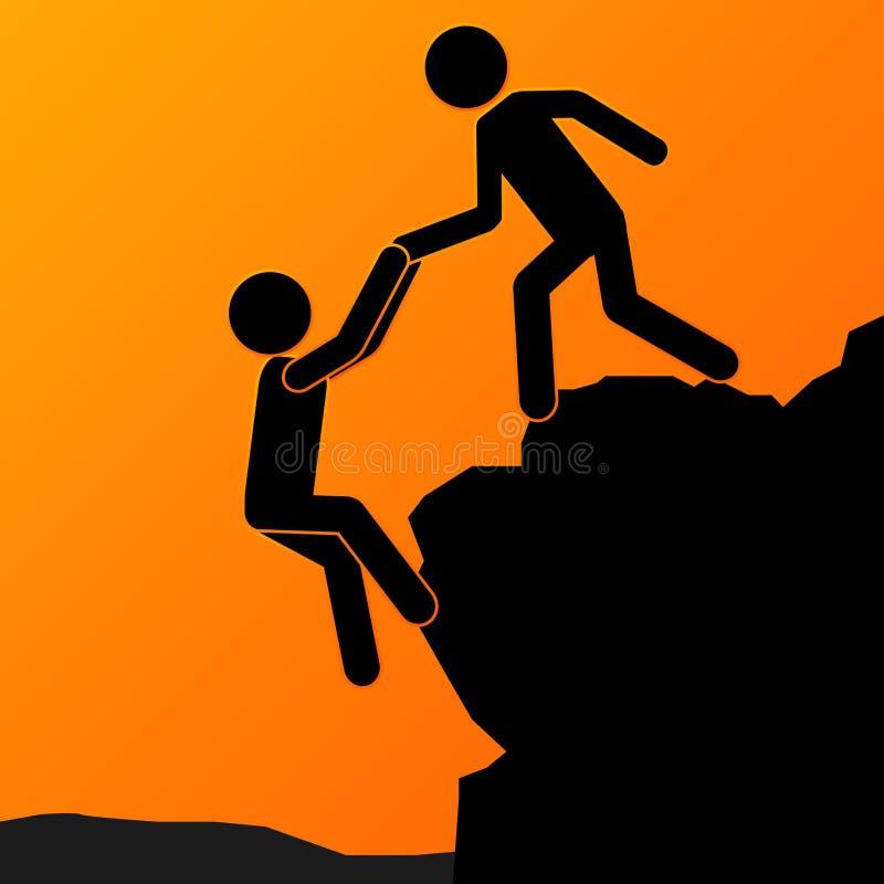 Man Helping Concept. Businessman Helping His Partner & Raising Him Up. Team Work Concept. Vector Illustration stock illustration