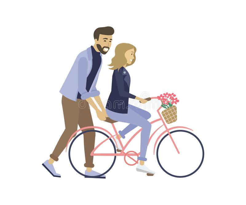 Lovers with Bicycle, Dating of Couple, Love Vector stock illustration