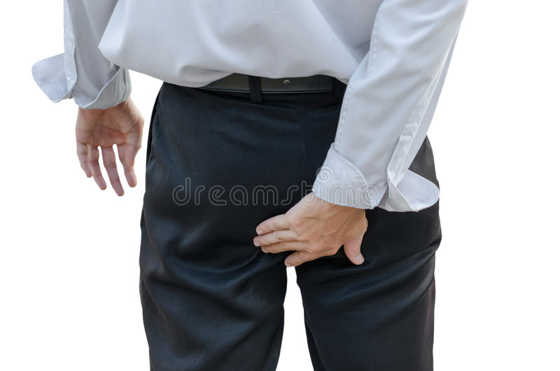 Man with hemorrhoids royalty free stock photo