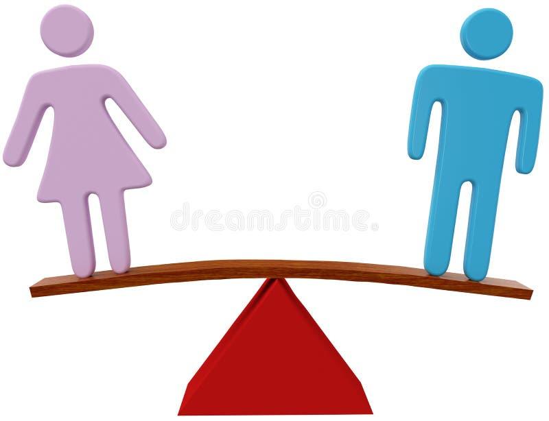 Man het evenwicht van het het geslachtsgeslacht van de vrouwengelijkheid royalty-vrije illustratie