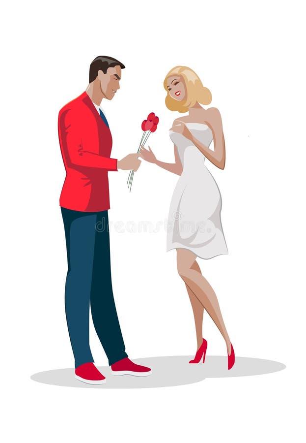 Man het karakter geeft boeketbloemen aan vrouw Eerste liefdedatum royalty-vrije illustratie