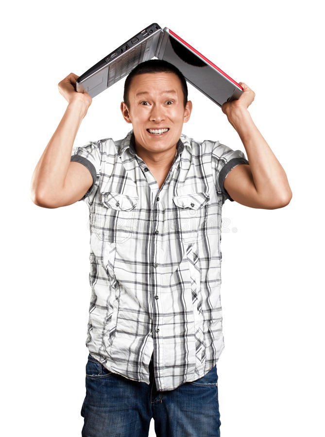 Man Hides Under The Laptop royalty free stock photo