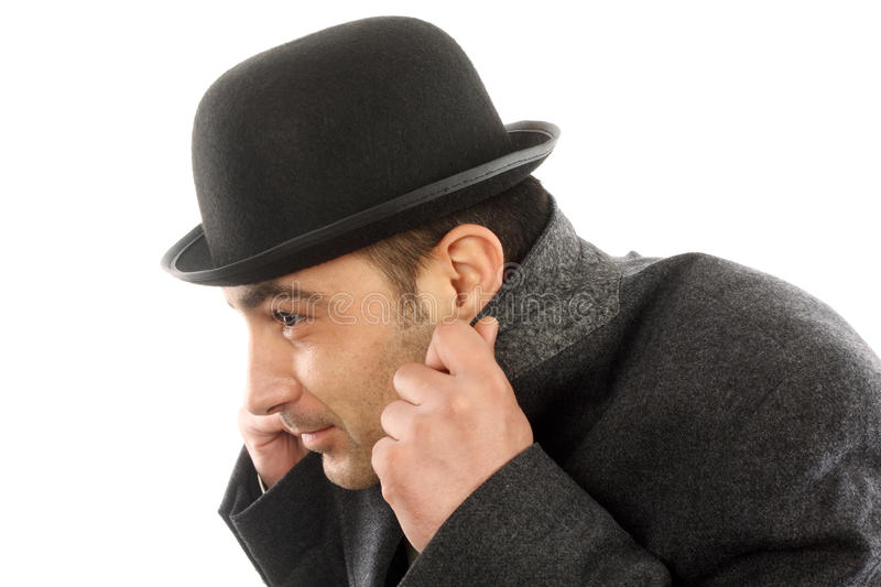Man Hiding From The Cold Royalty Free Stock Photos