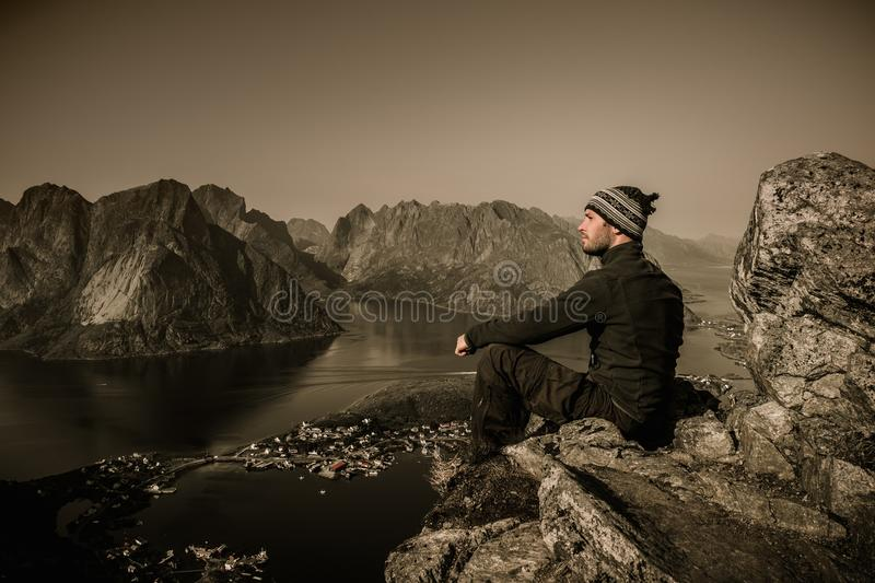 Man hiker in Norway stock images