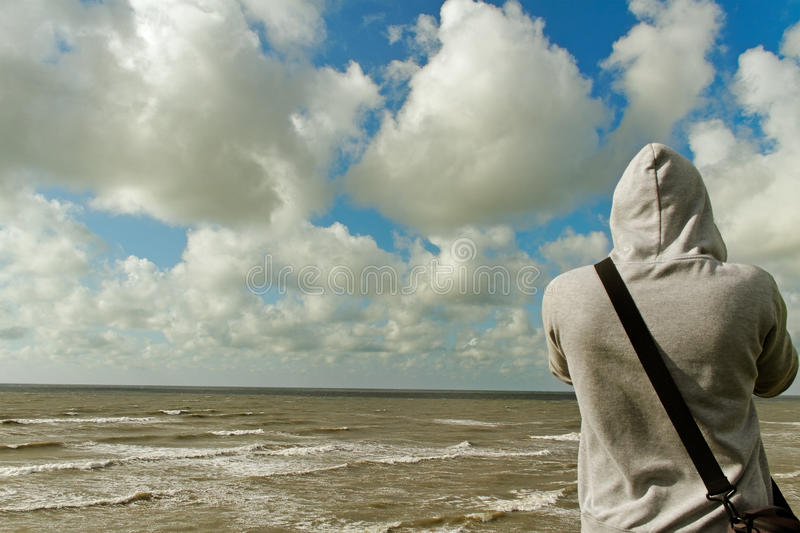 Download Man on the hill. stock image. Image of cute, jeans, bonnet - 25807937