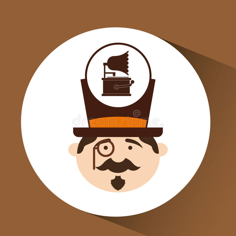 Man hipster gramophone vintage icon. Vector illustration eps 10 vector illustration
