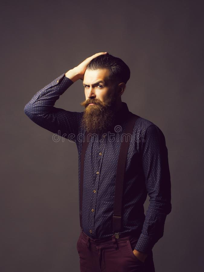 Man hipster tidies hair. Handsome man hipster with long graying brunette beard and moustache in shirt with suspenders tidies hair on grey background stock image