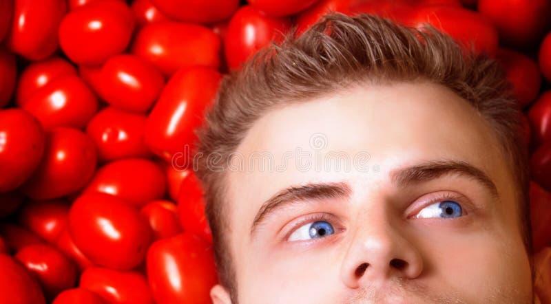 Man hipsteren med det blåa ögat, bondelögner på tomater och drömmar, blickar åt sidan royaltyfri foto